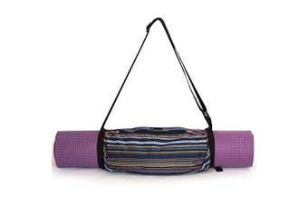 (Navy Multi) - Aurorae Yoga Mat Bag | Mat Sling Carrier | Large Outside Zip Closure Pocket