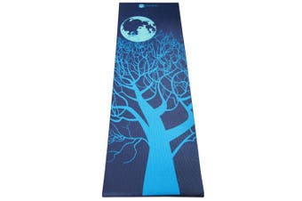 """(Midnight Moon) - Aurorae Printed Extra Thick 5mm and 72"""" Long Premium Eco Safe Yoga Mat with Non Slip Rosin"""