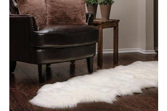 (0.6m x 1.8m, White) - Chanasya Super Soft Faux Fur Fake Sheepskin White Sofa Couch Stool Casper Vanity Chair Cover Rug / Solid Shaggy Area Rugs For Living Bedroom Floor - Off White 0.6m x 1.8m