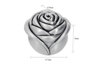(Small) - AVESON Vintage Rose Flower Style Antique Women Trinket Jewellery Gift Box Necklace Earrings Ring Jewellery Organiser Storage Case, Sliver, Small