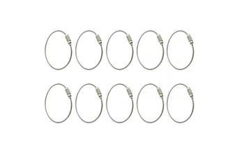 AKORD 10pcs Stainless Steel Wire Keychain Cable Keyring Twist Barrel, Metal, Silver, 15 x 4.8 x 1 cm