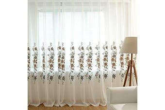 (W55 x L84 inch, Sheer 01) - WPKIRA 1 Panel Lace Curtain Rod Pocket Sheer Curtain Panels 210cm Long European Window Curtain Sheer Beige Voile Curtains Draperies Embroidery Window Treatments Natural Light Flow for Living Room