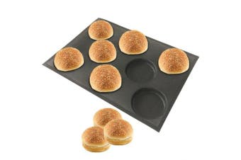 Bluedrop Silicone Hamburger Bread Forms Perforated Bakery Moulds Non Stick Baking Sheets Fit Half Pan Size