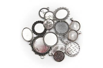 (Silver) - ALL in ONE 15pcs Mixed Cabochon Frame Setting Tray Pendant for DIY Jewellery Making (Silver)