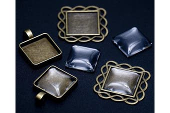(Antique Bronze Square 20mm with Dome) - ALL in ONE 20pcs Mixed Cabochon Frame Setting Tray Pendant for DIY Jewellery Making (Antique Bronze Square 20mm with Dome)