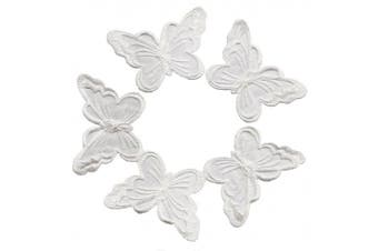 (5 White) - 5 White Butterfly Patches Bug Embroidered Iron On Applique Patch
