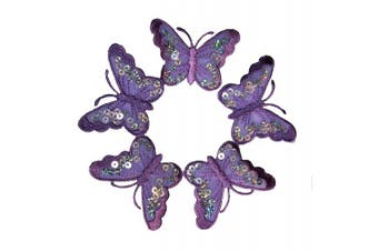 (5 purple organza) - 5 purple organza butterfly dress patch6.7x4.6cm Butterfly Bug Embroidered Iron On Applique Patch