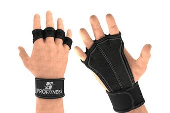 (Medium, Black) - ProFitness Ventilated Cross Training Gloves with Wrist Support - Split Leather with Silicone Padding for Strong Grip + Protection from Injury - for Gym Workout, Weightlifting, Powerlifting & WOD