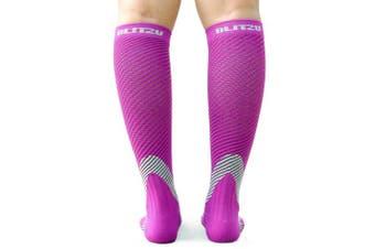 (Large/X-Large, Purple) - BLITZU Compression Socks 20-30mmHg Men Women Recovery Running Medical Athletic Edoema Diabetic Varicose Veins Travel Pregnancy Relief Shin Splints Nursing