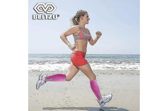 (Small/Medium, Pink) - BLITZU Compression Socks 20-30mmHg Men Women Recovery Running Medical Athletic Edoema Diabetic Varicose Veins Travel Pregnancy Relief Shin Splints Nursing