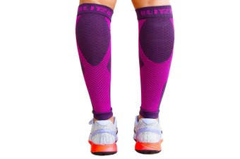 (Large/X-Large, Purple) - BLITZU Calf Compression Sleeve Leg Performance Support Shin Splint & Calf Pain Relief. Men Women Runners Guards Sleeves Running. Improves Circulation Recovery
