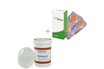 Hearing Aids Drying Kit Drying Jar Drying Dehumidifier Dryer (Two Cards Drying Capsules and One Drying Jar) (60*85mm)