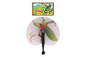 (23cms, Multi) - 12 Folding Paper Fans - Pretty Chinese Designs - Girls Party Loot Bag Filler
