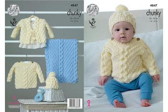 King Cole Baby Chunky Knitting Pattern Cable Knit Sweater Cardigan Hat & Blanket (4847)