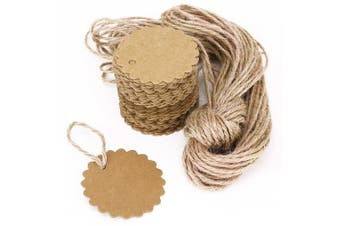 (Round-Brown) - AKA® 100PCS Christmas Kraft Paper Gift Tags Price Wedding Scallop Label Blank Luggage (Round-Brown)