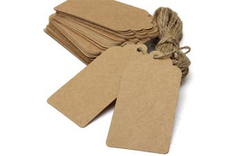 (Brown) - AKA® 100PCS Christmas Kraft Paper Gift Tags Price Wedding Scallop Label Blank Luggage (Brown)
