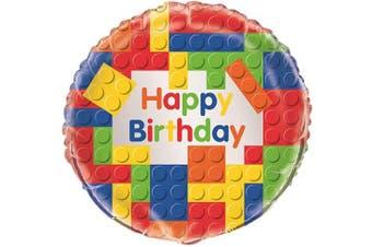 (Foil Balloon) - Unique Party 147950cm - 46cm Foil Building Blocks Birthday Balloon