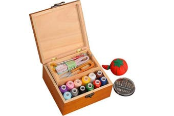 Da Jia Inc Portable Wooden Sewing Kit Case Organiser Box Set for Home Travel, with Thread/Needles/Tape Measure/Scissors/Thimble and Other Accessories