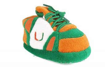 (Miami Hurricanes) - Happy Feet and Comfy Feet OFFICIALLY licenced NCAA College Baby Slippers - UP TO 9 MONTHS