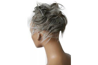 (gray mix # 9T60B G10F) - PRETTYSHOP XXL Hairpiece Hair Rubber Scrunchie Scrunchy Updos VOLUMINOUS Wavy Messy Bun grey mix # 9T60B G10F