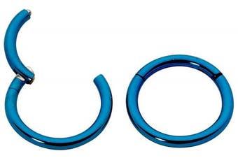 (Blue) - 1 Pair Titanium 8mm 16G Hinged Continuous Segment Ring Hoop Sleeper Earrings Body Piercing