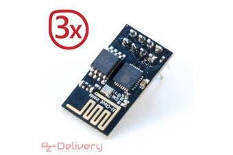 (3x ESP8266-01) - Azdelivery ESP8266 WLAN/WiFi Module for Arduino, Raspberry Pi and microcontroller 3x ESP8266-01