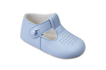 (16 (0-3 Months), Sky Blue) - Baby Boys T Bar Pram Shoes with hole cut pattern – Made in England by Early Days Baypods