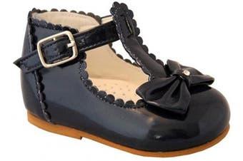 (4 UK Child, Navy) - Sevva Sally Baby Infant Girls Spanish Style Non Slip Patent First Walking Shoes + Bow White Black Cream Red Pink Camel Blue