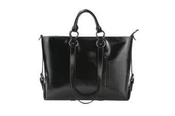 (Grain Leather-Black) - S-Zone 3-Way Ladies Women's Cow Split Leather Tote Bag Handbag Shoulder Bags