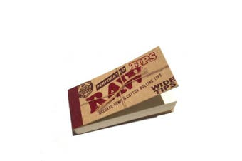 (1, —) - RAW PERFORATED WIDE TIPS - NATURAL HEMP & COTTON ROLLING TIPS - 5 BOOKLETS BY TRENDZ