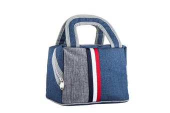(Navy) - Kid Lunch Bag Insulated Lunch Box Tote Bag Reusable Zip Closure Handbag (Navy)