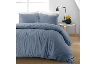 (Blue, Double) - Luxury Soft Pure Natural Flax Fibre Linen Blend Quilt Duvet Cover Bedding Set (Blue, Double Duvet Cover Set)