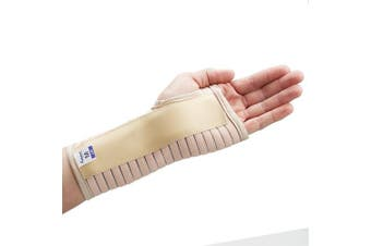 (Beige, Small Right) - Actesso Breathable Wrist Support Brace Splint - Ideal for Carpal Tunnel, Sprains, and Tendonitis (Beige, Small Right)