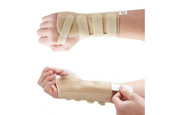 (Beige, Medium Left) - Actesso Tri-Weave Wrist Support Splint : Elastic Brace Reduces Pain from Carpal Tunnel, Fractures, Sprains and Joint Pain. Ideal For Day and Night Relief. Designed and used by Medical Professionals (Beige, Medium Left)