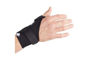 (Black, Medium Right (16-20 cm)) - Actesso Elasticated Thumb Support Brace - Medical Splint Reduces Pain from Thumb Injury, Sprains, Tendonitis, De Quervain's, Fractures or for Support Post Operation. Left & Right & All Sizes (Black, Medium Right (16-20