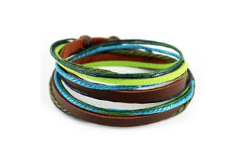 (Multi-color-4) - Abbyabbie.Li Unisex Genuine Leather Cuff Wrap Bracelet Rope Wristband with Three Adjustable Button