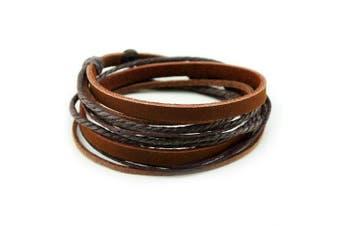 (Brown) - Abbyabbie.Li Unisex Genuine Leather Cuff Wrap Bracelet Rope Wristband with Three Adjustable Button