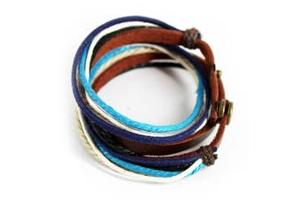 (Multi-color-2) - Abbyabbie.Li Unisex Genuine Leather Cuff Wrap Bracelet Rope Wristband with Three Adjustable Button