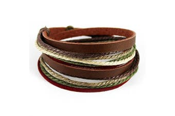 (Multi-color-3) - Abbyabbie.Li Unisex Genuine Leather Cuff Wrap Bracelet Rope Wristband with Three Adjustable Button