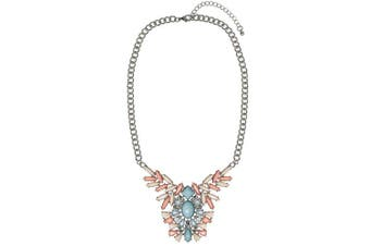 Adorning Ava Silver Floral Pendant Necklace with Pink and Blue Pastel Coloured Rhinestones