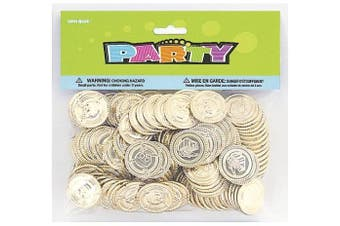 (1, Gold) - Unique Party 86932 - Plastic Gold Treasure Coins Party Bag Fillers, Pack of 144