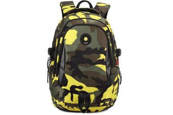 (Small, Yellow) - Comfysail Camouflage Printed Printing Primary School Nylon Backpack - Ideal for 1-6 Grade School Students Boys Girls Daily Use and Outdoor Activities (Small, Yellow)