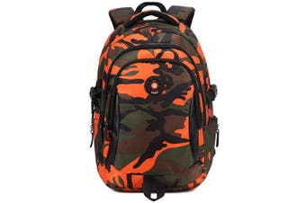 (Small, Orange) - Comfysail Camouflage Printed Primary School Nylon Backpack - Ideal for 1-6 Grade School Students Boys Girls Daily Use and Outdoor Activities (Small, Orange)