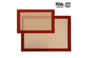Silicone Baking Mat Sheet Set Oven Tray Liners Roll Mat - Non Stick Cookie Sheets Professional Grade