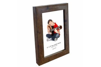(1 Pack) - Photo Frame, 6 x 4, Standard Photograph Size, Brown, Freestanding and Wall Mountable, 6x4 Picture Frame