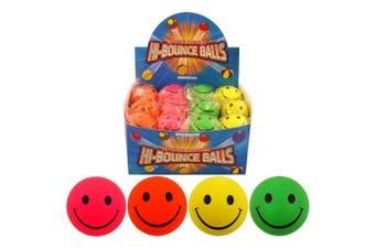Hard Sponge Rubber Smiley Face Hi-Bounce Ball Neon Colours (1 x SUPPLIED AT RANDOM)