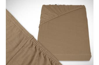 Classic Jersey Fitted Sheet Available In 22 Colours and 6 Sizes – 100% Cotton, light brown, 90-100 x 200 cm