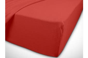 Classic Jersey Fitted Sheet Available In 22 Colours and 6 Sizes – 100% Cotton, red, 90-100 x 200 cm