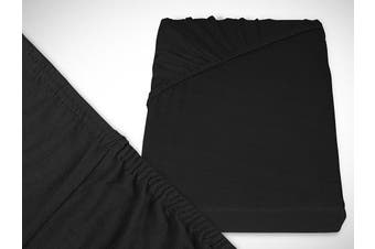 Classic Jersey Fitted Sheet Available In 22 Colours and 6 Sizes – 100% Cotton, black, 70 x 140 cm