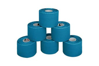 (Light Blue) - BB Sport 6 Rolls Kinesiology Tape Muscle Support Tape 5 m x 5 cm E-Book Application Examples Muscle Support Elastic Strapping Tape, Colour:Light Blue